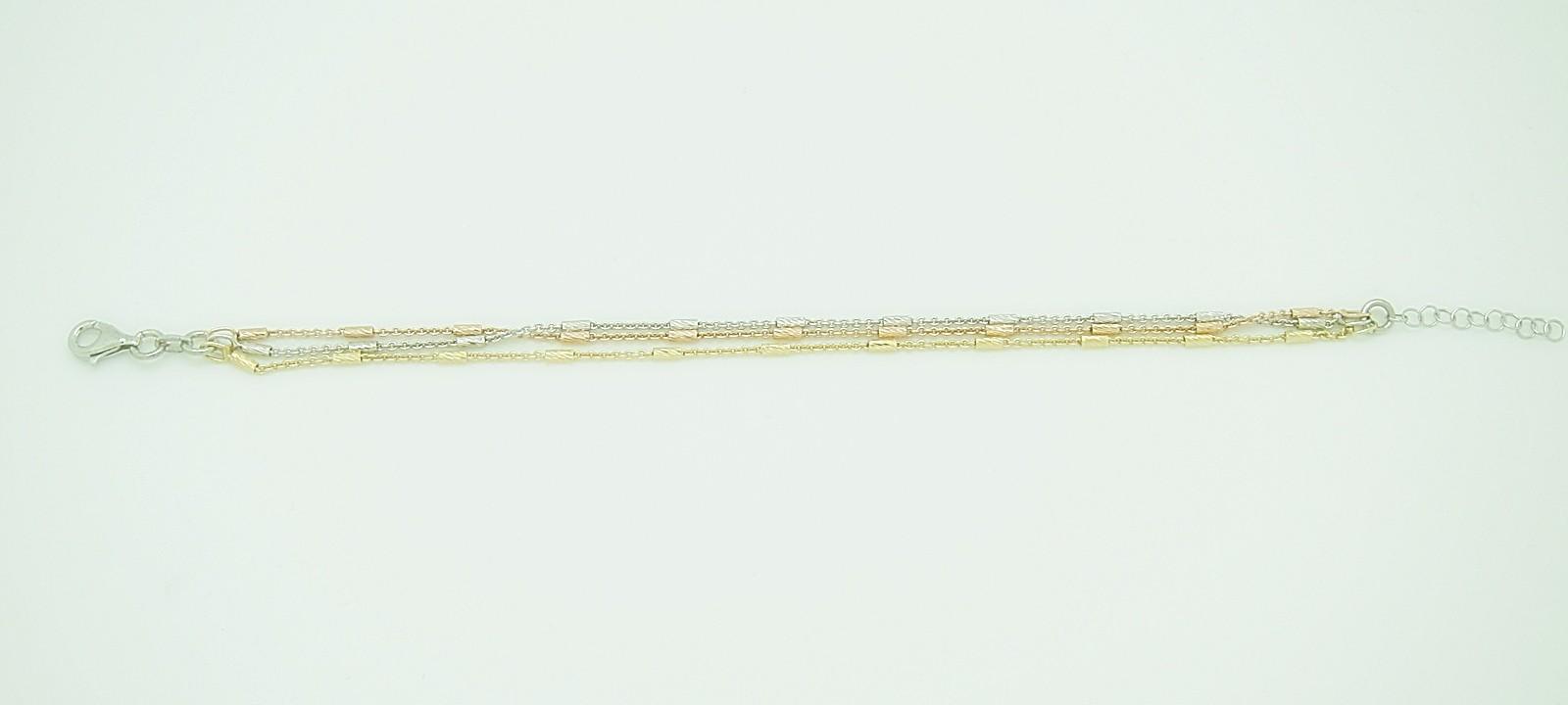 Pulsera fina lisa tres cadenas tubo tallado