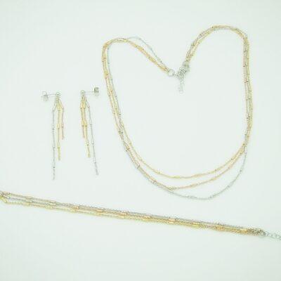 Conjunto gargantilla pulsera pendientes cadena