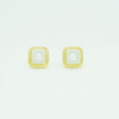 Pendientes tornillo bicolor circonita cuadrado