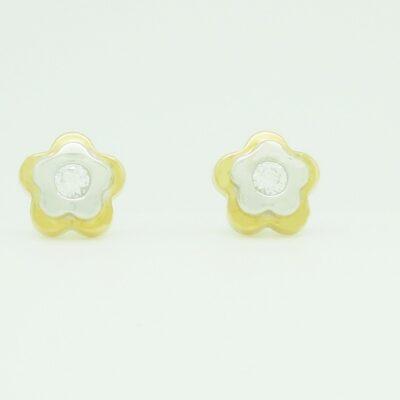 Pendientes tornillo bicolor circonita flor