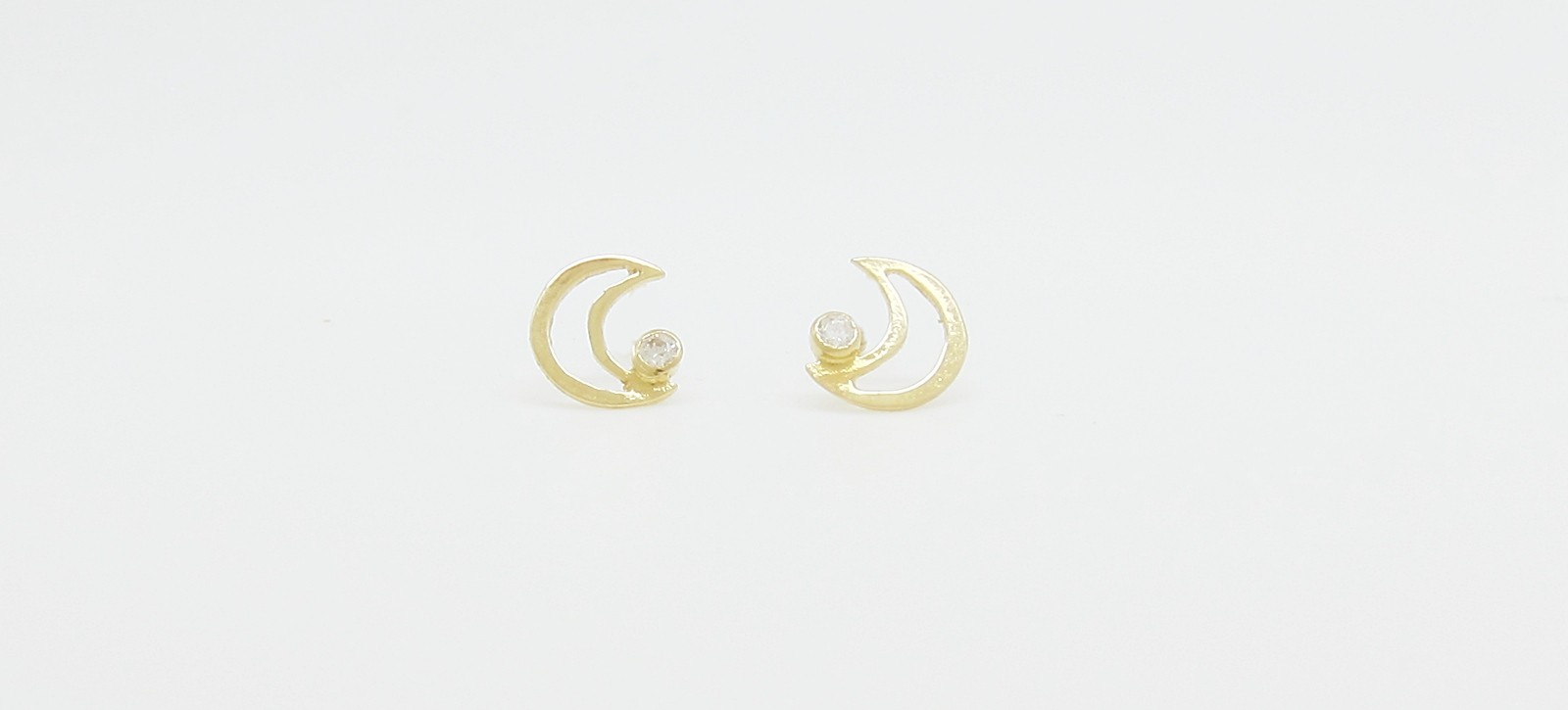 Pendientes tornillo luna circonita