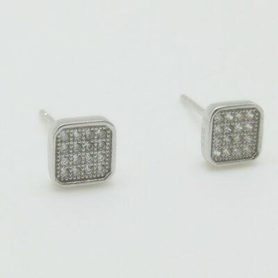 Pendientes cuadrado pequeños plata