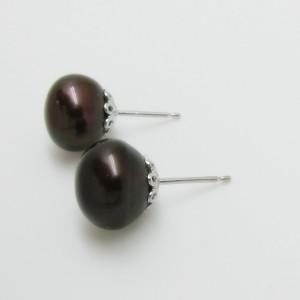Pendientes perla marrón plata