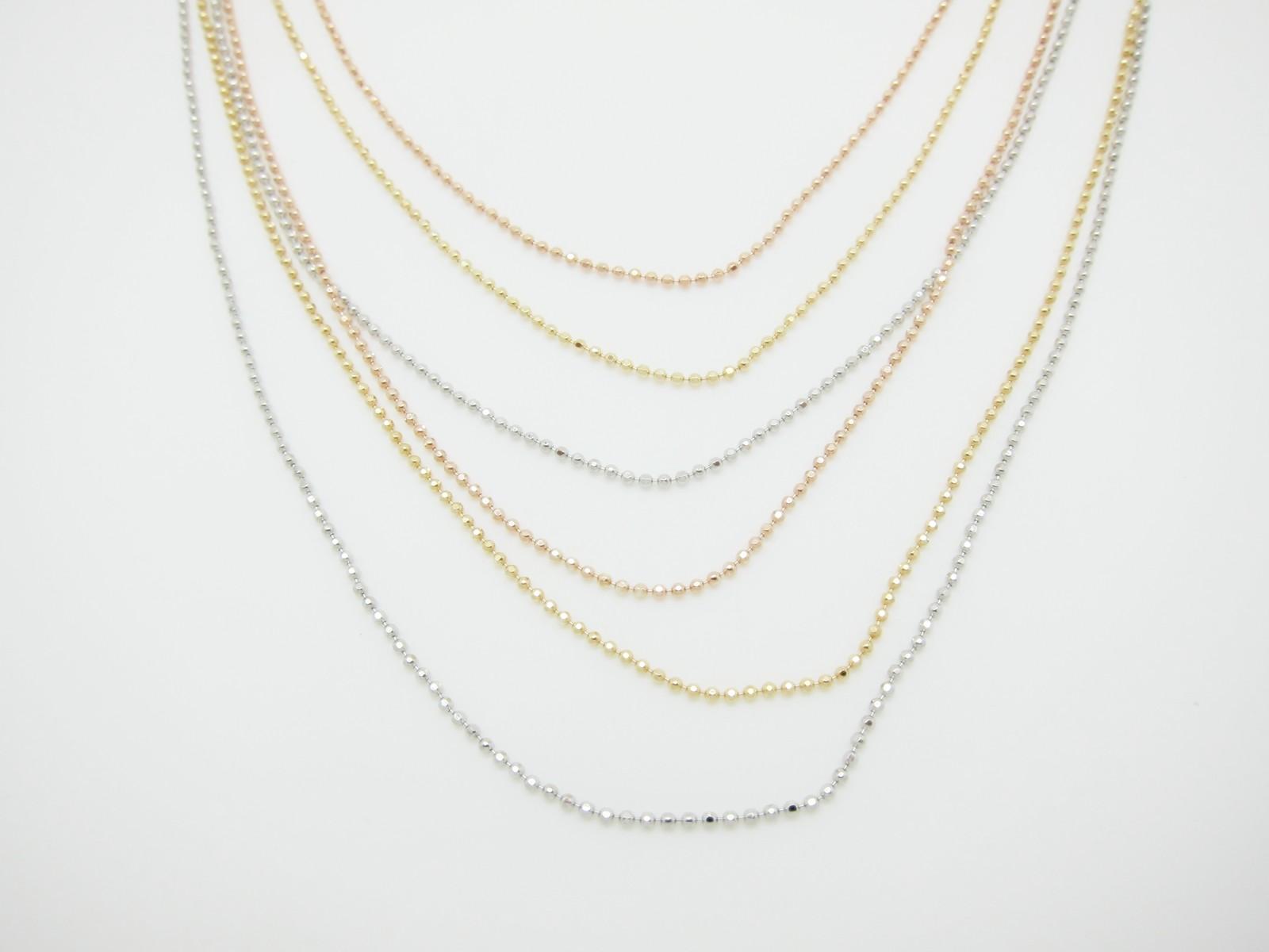 Gargantilla bolitas 6 cadenas tricolor plata