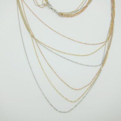 Gargantilla bolitas 6 cadenas tricolor plata largo