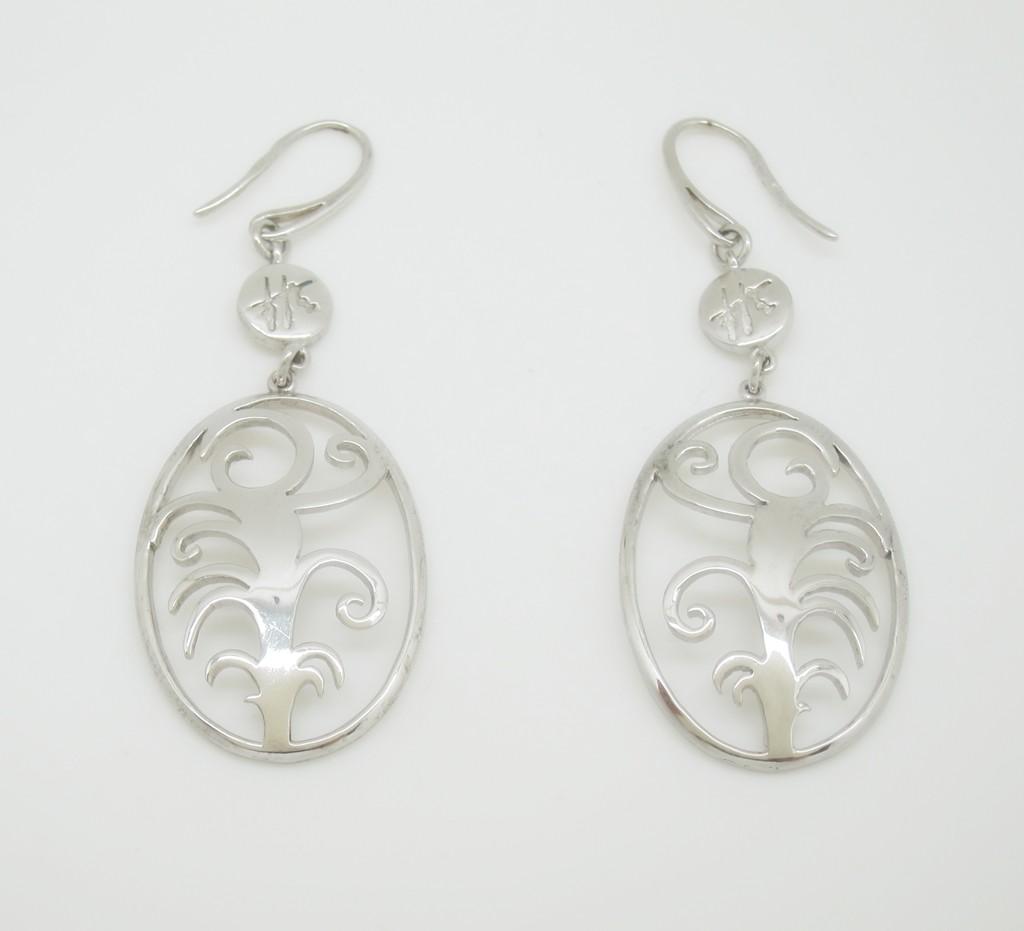 Pendientes colgantes plata logo francis montesinos