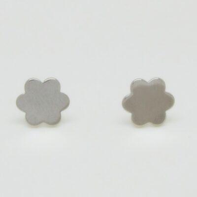Pendientes lisos flor plata