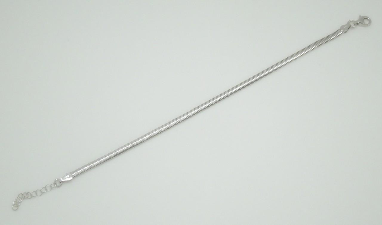 90fb9c918b47 Pulsera cola de topo plana plata