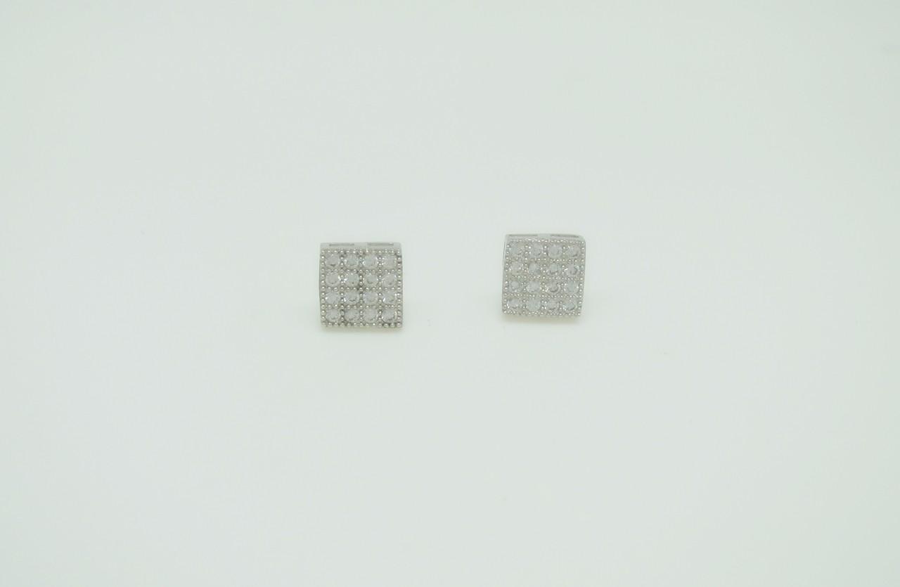 Pendientes pave cuadrados plata