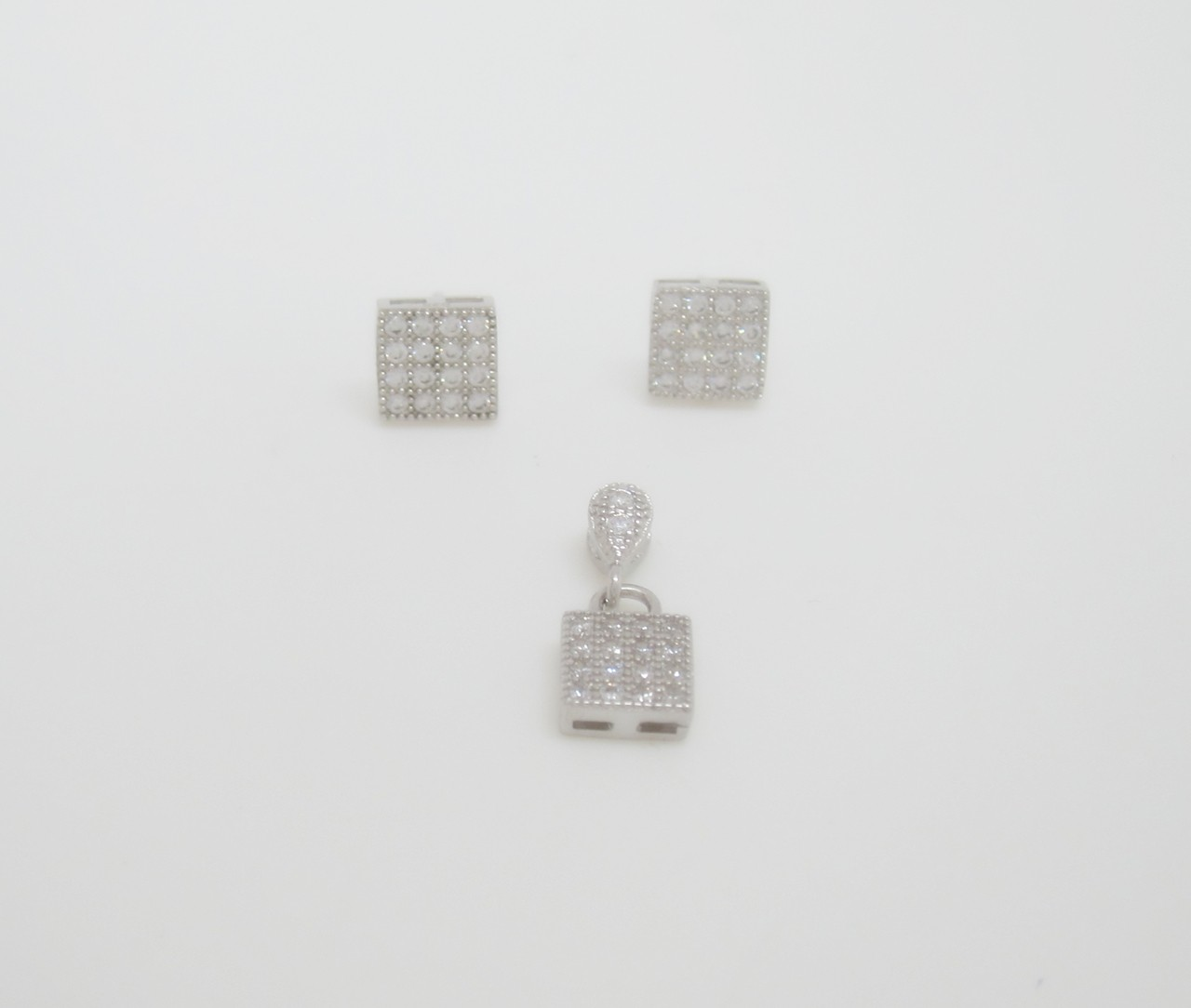 Conjunto pave cuadrado plata