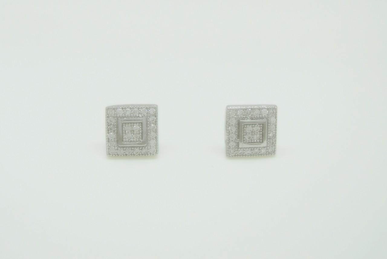 Pendientes pave cuadrados doble orla plata
