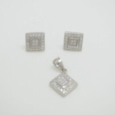 Conjunto cuadrado doble orla plata