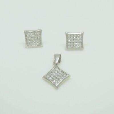 Conjunto cuadrado plata