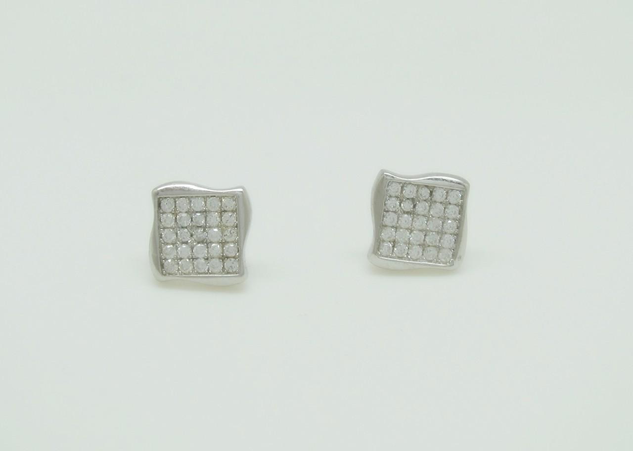 Pendientes cuadrados estilo pave plata