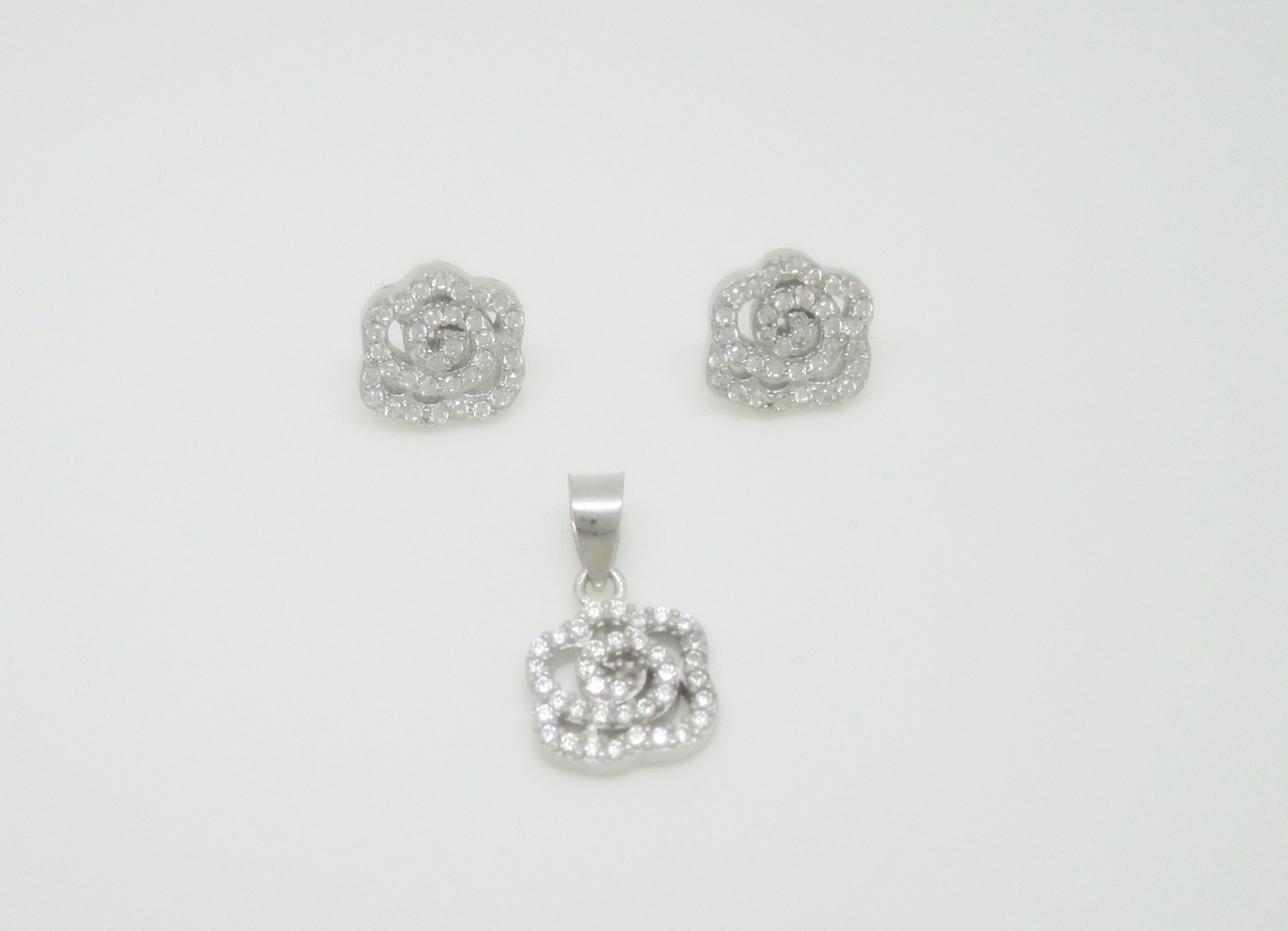 Conjunto flor pave plata