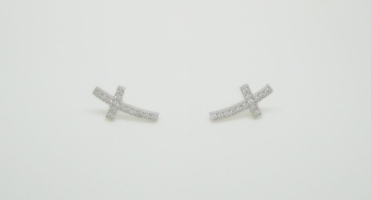 Pendientes cruz pave plata