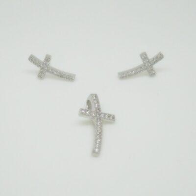 Conjunto cruz pave plata