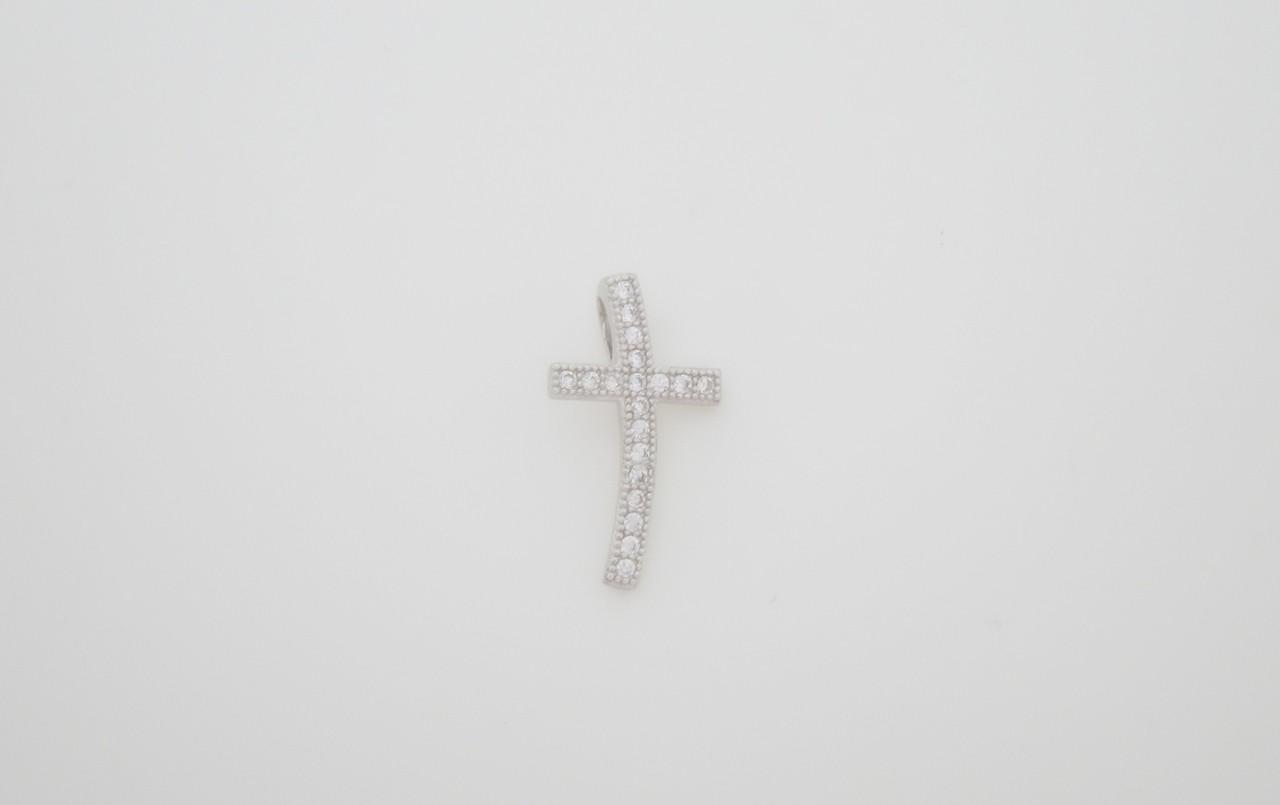Colgante cruz pave plata