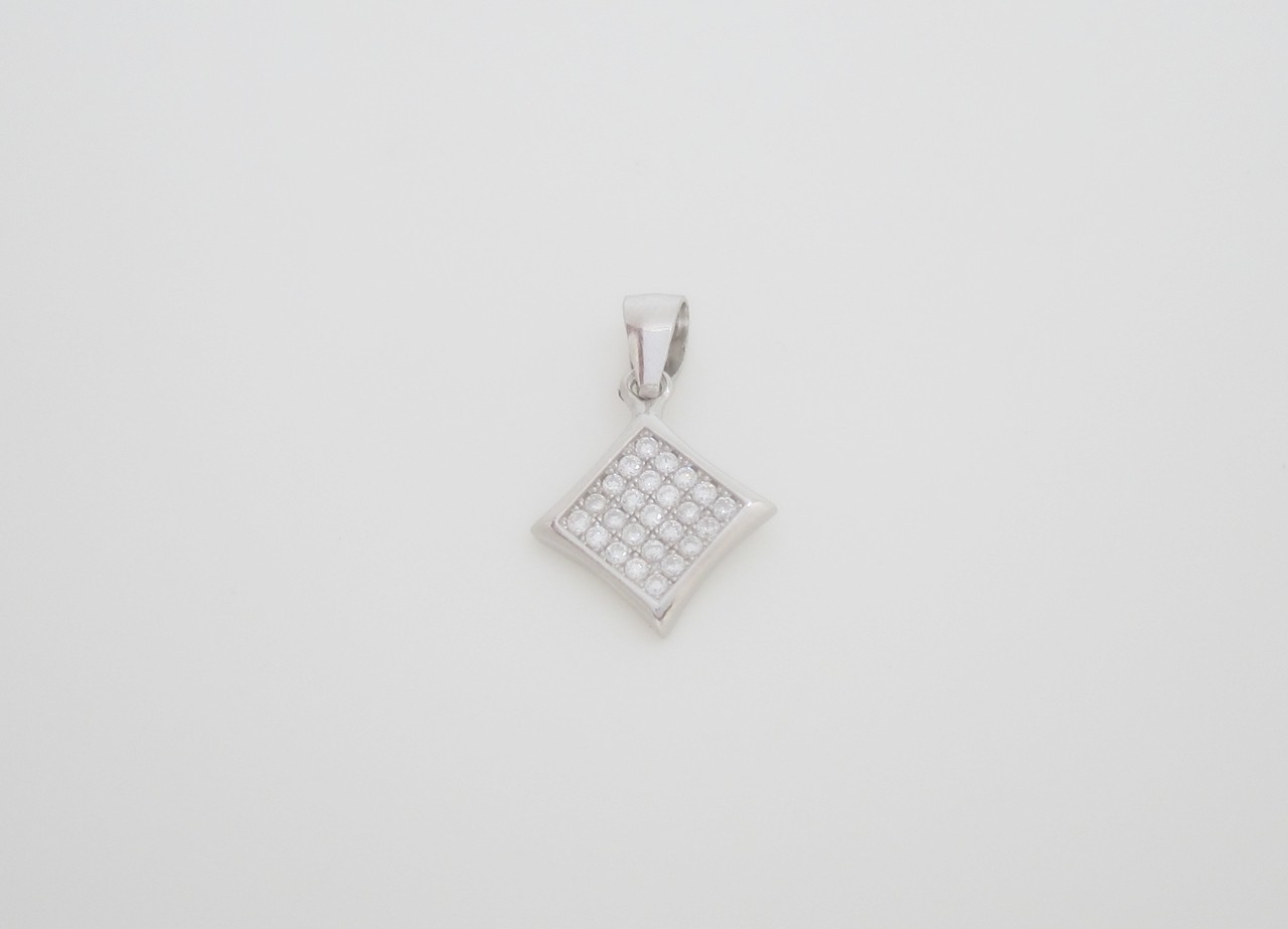 Colgante cuadrado estilo pave plata