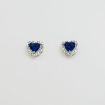 Pendientes roseta corazón azul plata