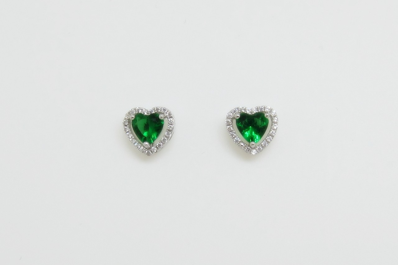 Conjunto roseta corazón verde plata