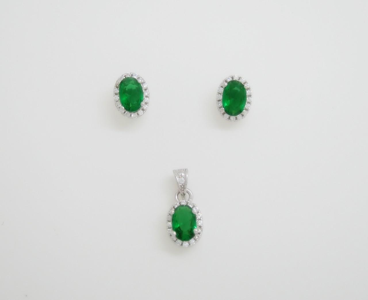 Conjunto roseta oval verde plata
