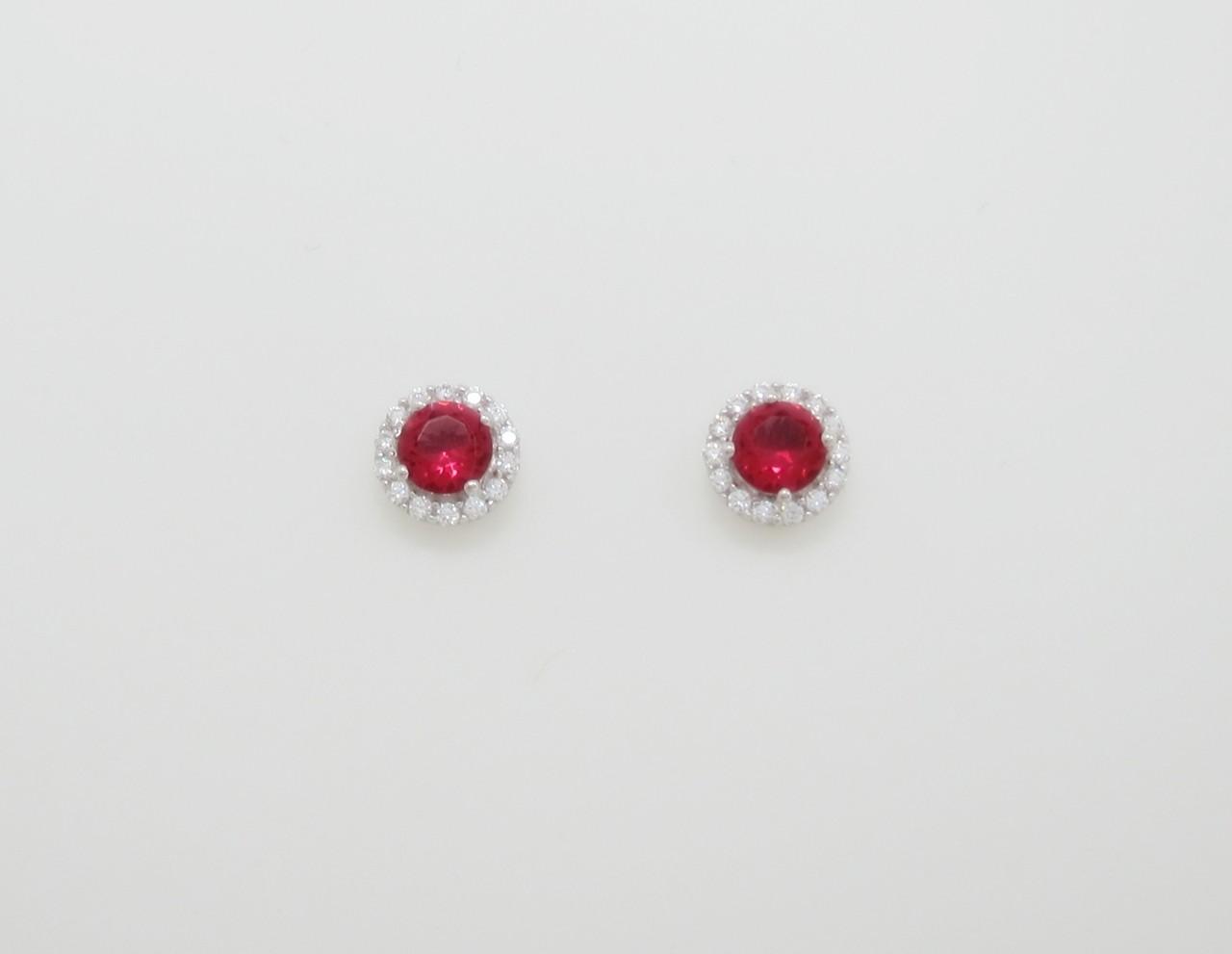 Pendientes roseta roja redonda plata