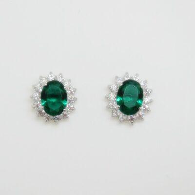 Pendientes roseta verde plata