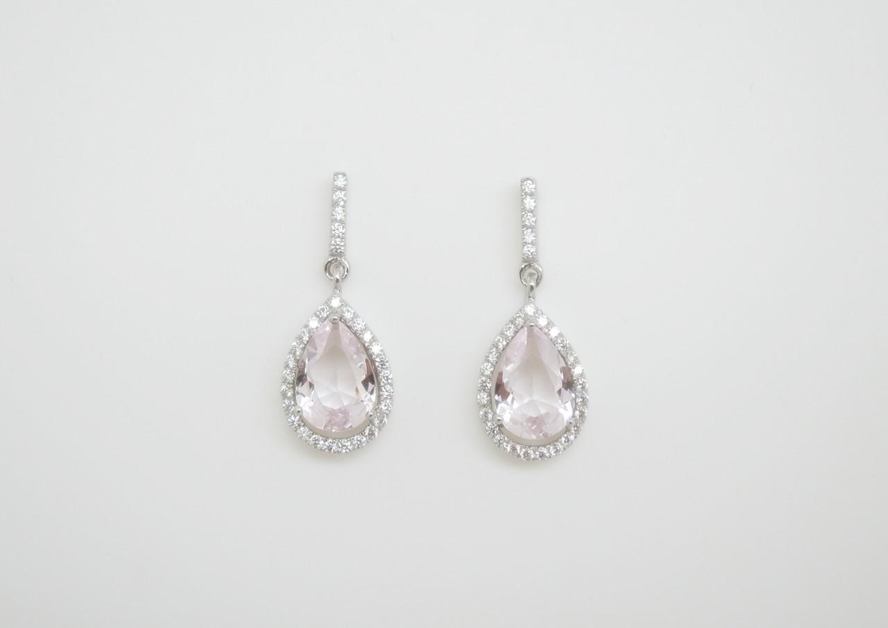 Pendientes colgante rosa plata