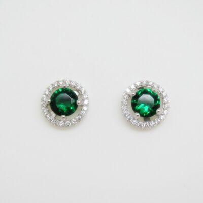 Pendientes roseta en verde plata