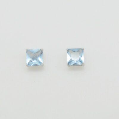 Pendientes cuadrados circonita azul celeste plata