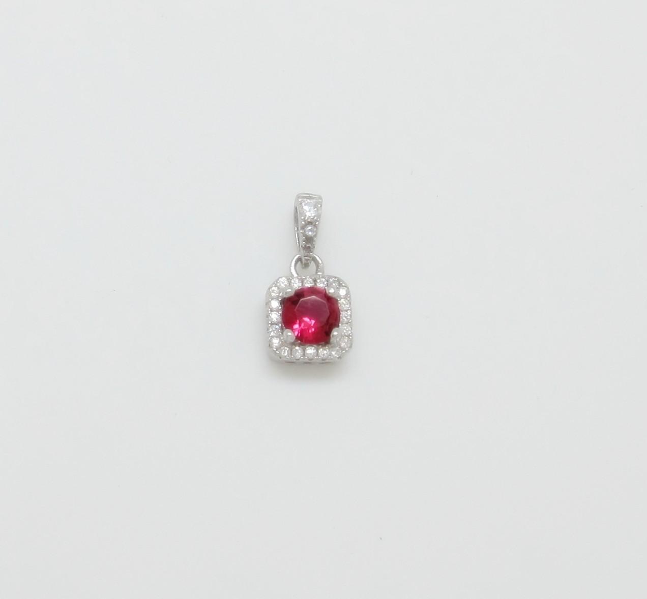 Colgante roseta roja cuadrada plata