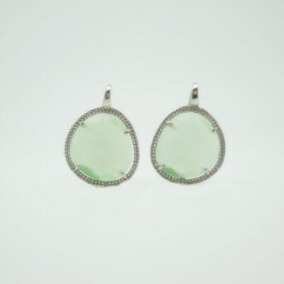 Pendientes Piedra color verde grande plata