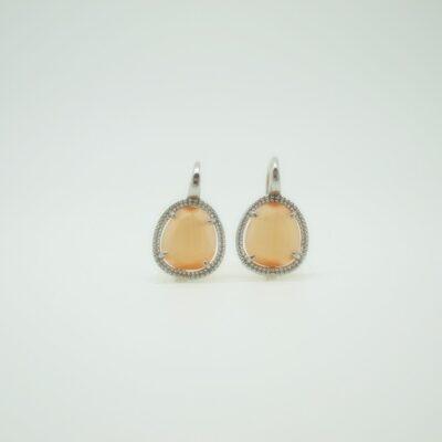 Pendientes Piedra color naranja pequeño plata