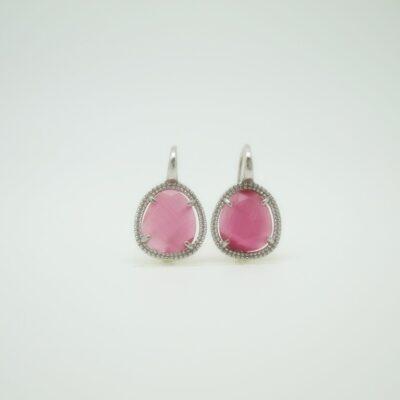Pendientes Piedra color pequeña rosa fuxia plata