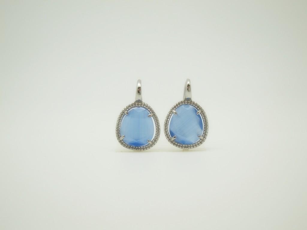 Pendientes Piedra color pequeño azul plata