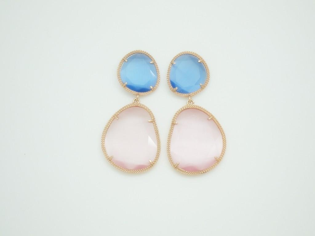 Pendientes Bi-Piedra color grande azul-rosa plata