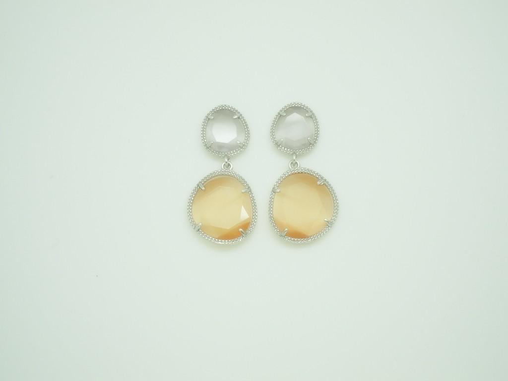 Pendientes Bi-Piedra color pequeños gris-naranja plata