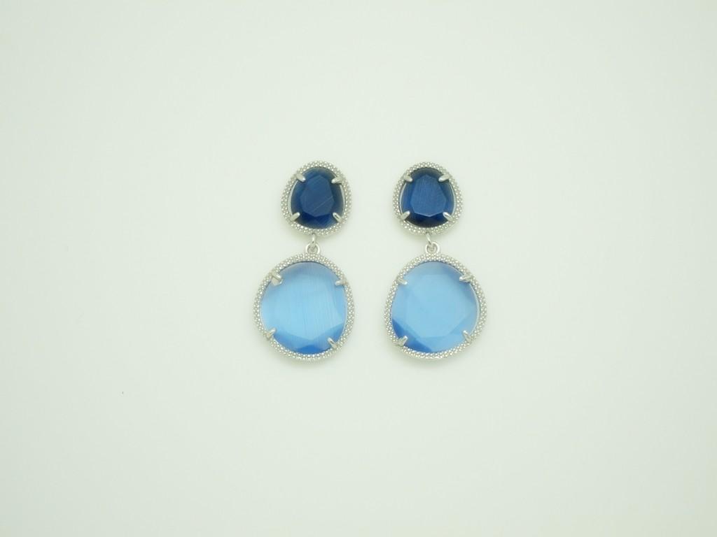 Pendientes Bi-Piedra color pequeños azules plata