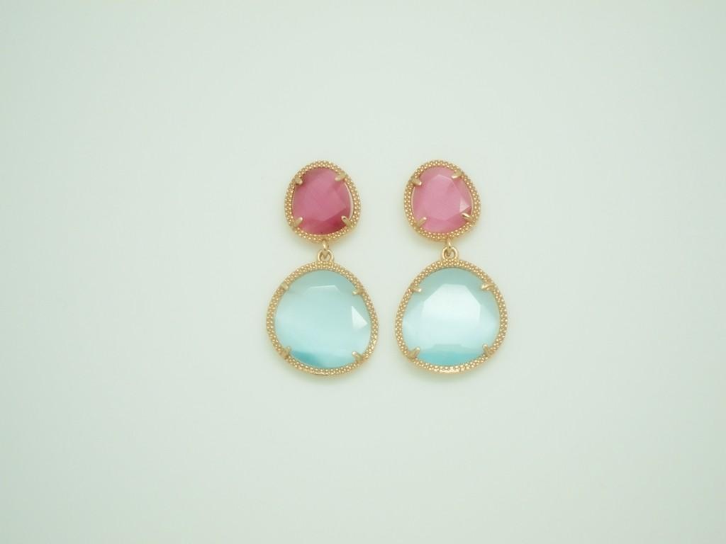 Pendientes Bi-Piedra color pequeños fuxia-rosa plata rosa