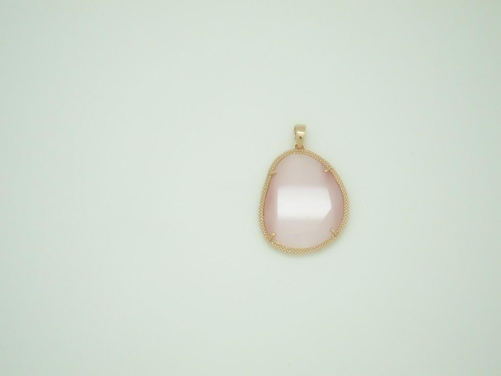 Colgante grande piedra rosa plata rosa