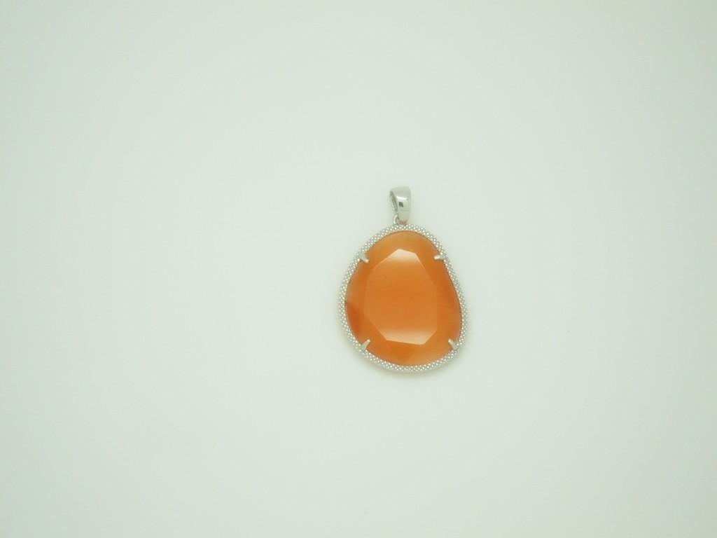 Colgante grande piedra naranja plata