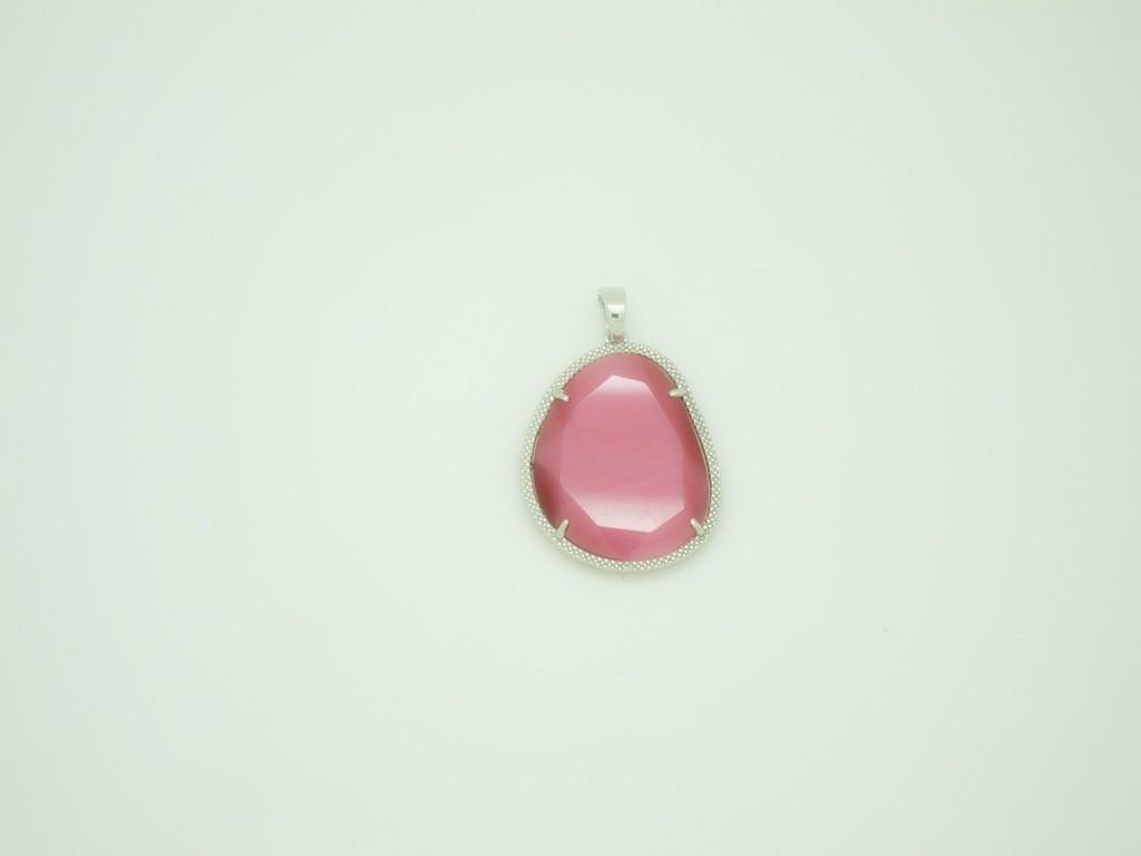 Colgante grande piedra rosa fuxia plata
