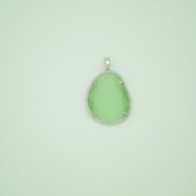 Colgante grande piedra verde plata